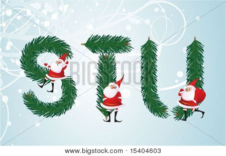 Christmas decorative fir-tree ABC with funny Santas. Letters S, T, U. Vector.