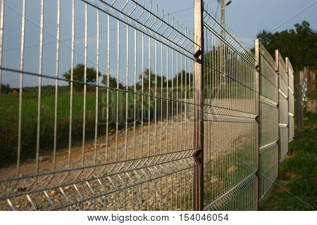Welded wire fence made for property protection.