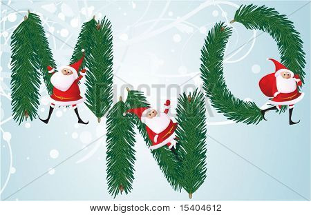 Christmas decorative fir-tree ABC with funny Santas. Letters M, N, O. Vector.