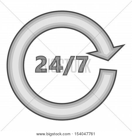 Twenty four hours by seven days service icon. Gray monochrome illustration of 24 hours 7 days service vector icon for web design