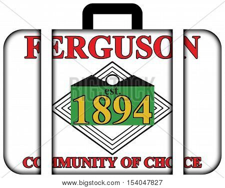 Flag Of Ferguson, Missouri, Usa. Suitcase Icon, Travel And Transportation Concept