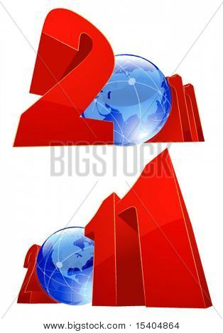 Global 2001 New Year. Vector .