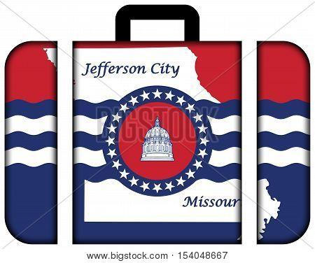 Flag Of Jefferson City, Missouri, Usa. Suitcase Icon, Travel And Transportation Concept