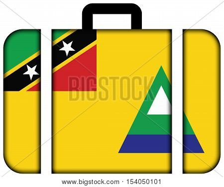 Flag Of Nevis, Saint Kitts And Nevis. Suitcase Icon, Travel And Transportation Concept