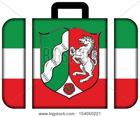 Flag Of North Rhine-westphalia With Coat Of Arms, Germany. Suitcase Icon, Travel And Transportation
