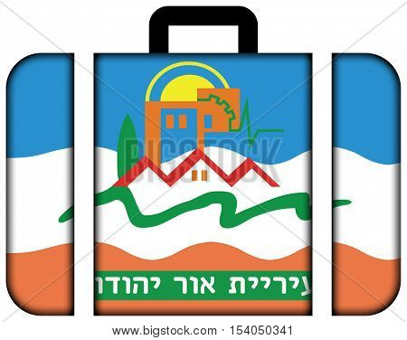 Flag Of Or Yehuda, Israel. Suitcase Icon, Travel And Transportation Concept