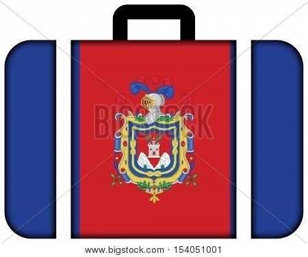 Flag Of Quito, Ecuador. Suitcase Icon, Travel And Transportation Concept