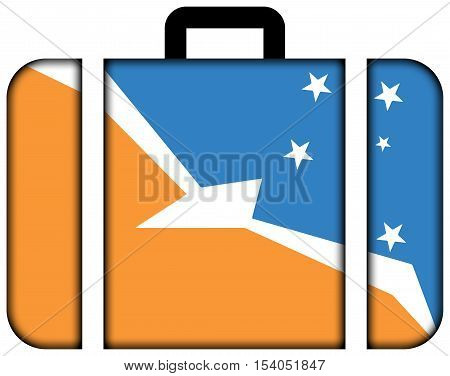 Flag Of Tierra Del Fuego Province, Argentina. Suitcase Icon, Travel And Transportation Concept