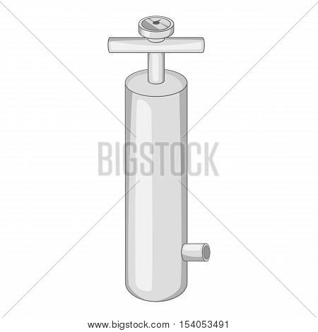 Pump with pressure gauge icon. Gray monochrome illustration of pump vector icon for web design