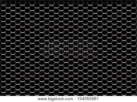 Black hexagon mesh pattern background vector illustration.