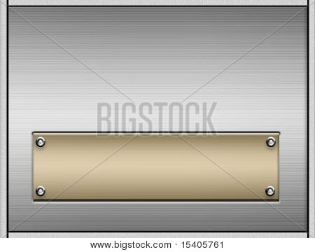 Realistic brushed metal and name plate with rivets
