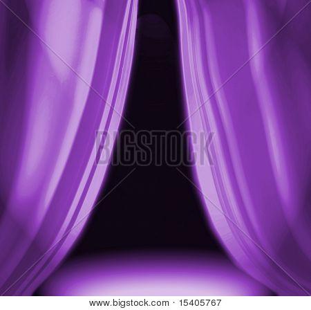 Purple drapery on empty theatre stage