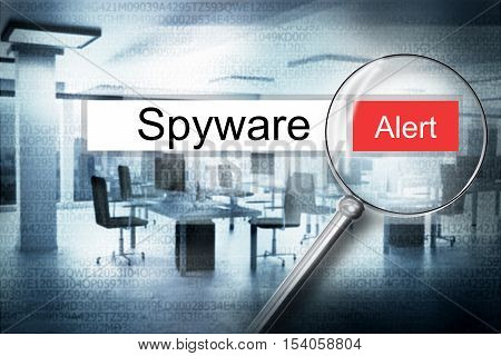reading the word spyware browser search security alert 3D Illustration