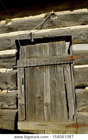An old weathered wood door on an old log cabin with rusty hinges.