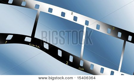 Filmstrip On Blue Gradient