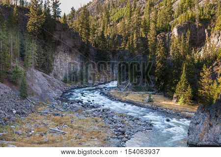 the scenic firehole river in yellowstone national park Wyoming