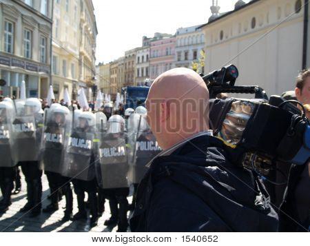 Riot Police And Cameraman