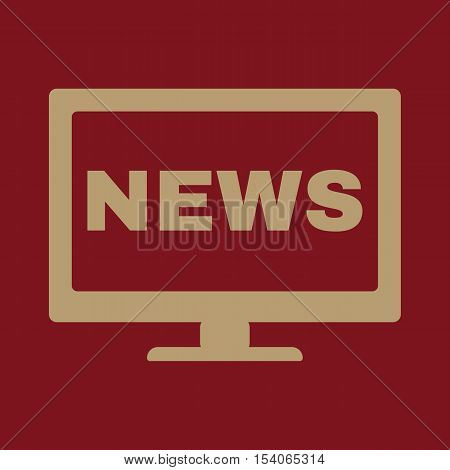 The tv news icon. Television and telly, telecasting, broadcast symbol. Flat Vector illustration