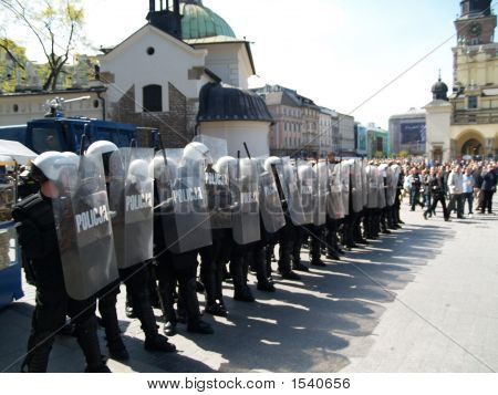 Riot Polish Police At Demonstration