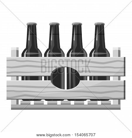 Wooden crate with beer bottles icon. Gray monochrome illustration of wooden crate with beer bottles vector icon for web