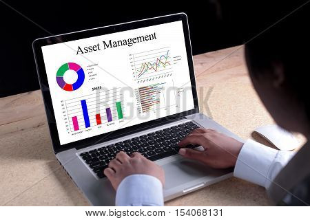 Asset Management chart on laptop screen. Business banking finance and investment concept.