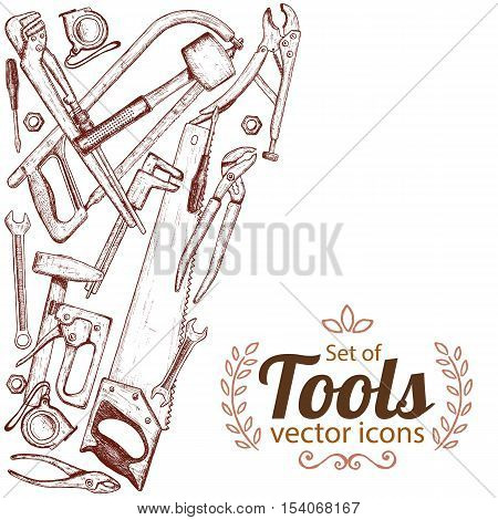 Side vertical border with repair tools icons. Template for packaging cards posters. Vector stock illustration.