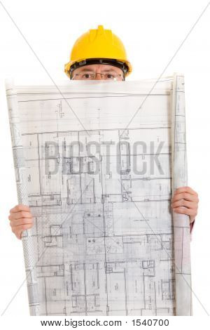 Male Architect With A Building Blueprint