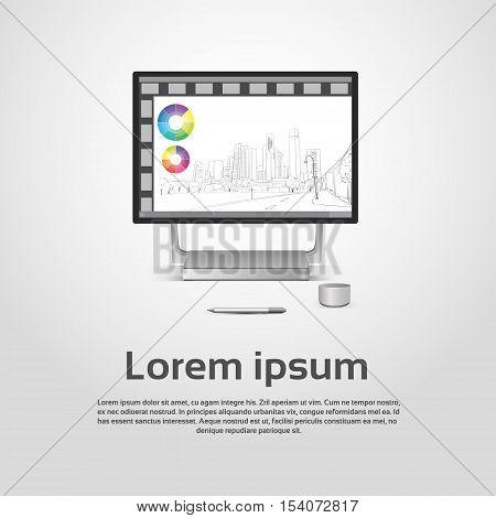 Desktop Logo Modern Computer Workstation Icon Monitor Financial Graph Diagram Infographic Vector Illustration