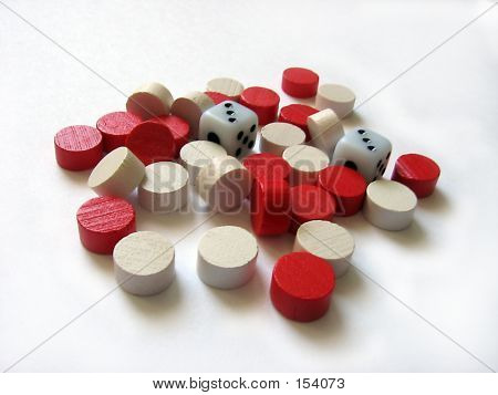 Dice With Small Red And White Pieces