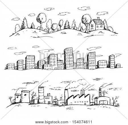 Vector illustration of landscapes hand drawn doodles style