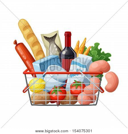 Grocery basket full of food isolated on white background. Cartoon vector illustration. Bread, wine, sausages, fish, milk, green, carrots, tomato, lemon, potato