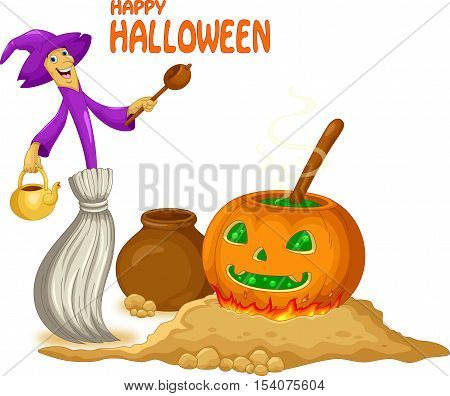 Vector illustration of cute broom witch preparing a potion isolated on white background