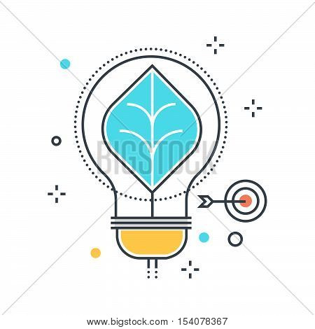 Color Line, Energy Efficient Lamp Concept Illustration, Icon