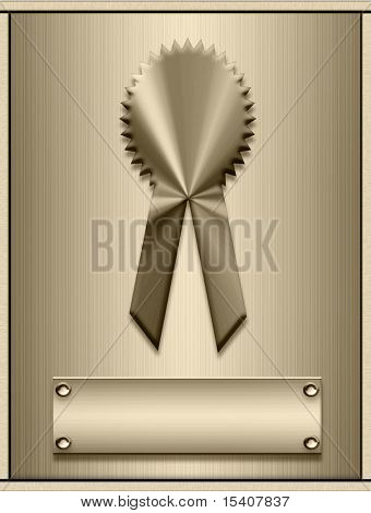 Gold Medal On Plaque With Nameplate Ready For Personalization