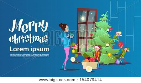 Green Elf Group With Woman Decorate Christmas Tree Greeting Card Decoration Happy New Year Banner Flat Vector Illustration