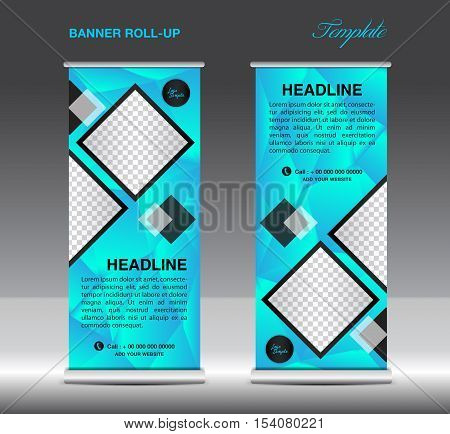 Blue Roll Up Banner template vector illustration, standy design, display, x-stand, flag-banner, pull up, banner template, polygon background