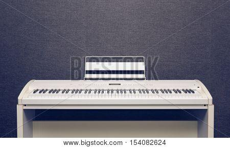 White ivory digital piano over gray wall