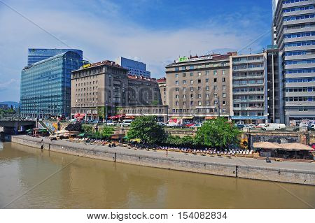 VIENNA AUSTRIA - JUNE 6: View of the riverside of Vienna city on June 6 2016. Vienna is a capital and largest city of Austria.