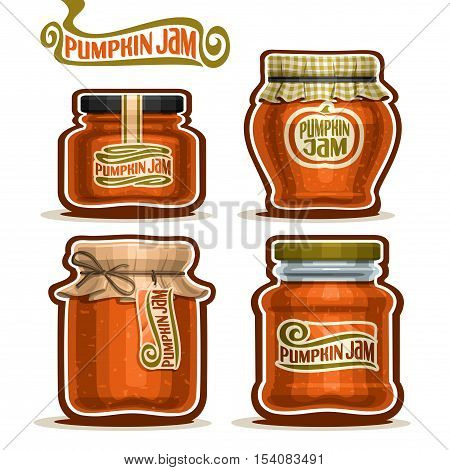 Vector logo Pumpkin Jam in Jars with checkered paper lid, rustic Pot home made pumpkin jams, twine bow, homemade fruit jam jar, farm halloween dessert autumn harvest pot with label, isolated on white.