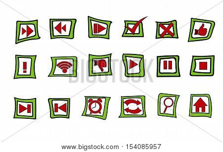Set of Icons (Play, Pause, Stop, Accept, Decline, Decrease and Increase Speed, Skip Forward, Back, Like, Dislike, WiFi, Alarm Clock, Reload, Search, Home, Exclamation Point)