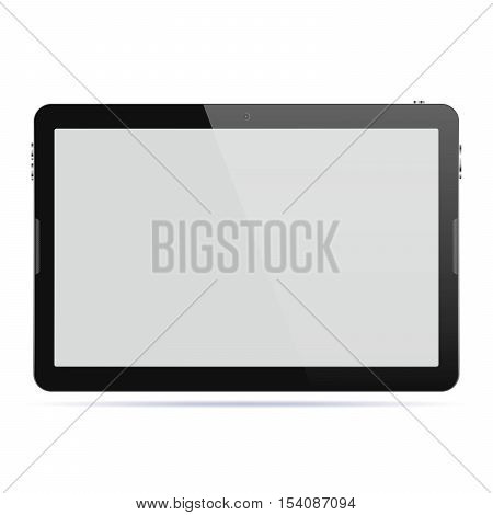 Modern touch screen tablet computer isolated on white background. Tablet computer with blank screen. Vector illustration.