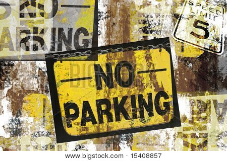Grunge Montage Design of Photographed No Parking and Speed Limit 5 Signs