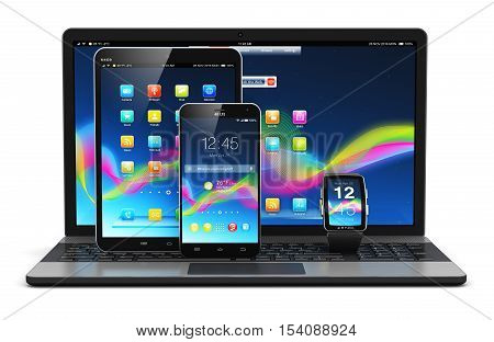 3D render illustration of modern mobile devices - black glossy touchscreen smartphone or mobile phone, tablet computer PC, laptop or notebook and smartwatch or clock or fitness tracker with screen interfaces with icons and buttons isolated on white