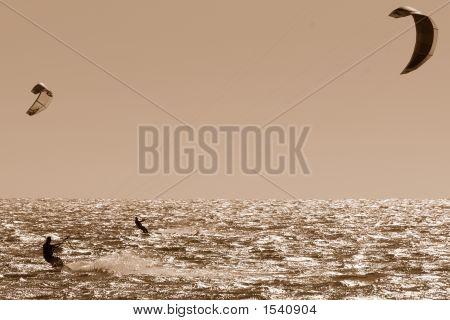 Sepia Kite Surfing