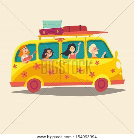 Van traveling happy people. Hippie camper bus. Tourism cartoon character young hippie. Travel by vintage bus. Woodstock lifestyle. Family holiday. Cartoon style vector illustration isolated