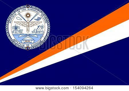 Flag of Marshall Islands Majuro capital. illustration