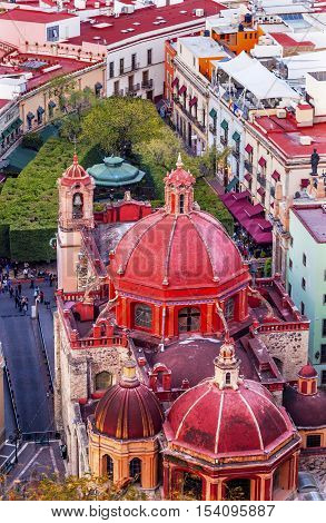 Red Dome Templo San Diego San Diego Church Jardin Town Square Guanajuato Mexico From Le Pipila Overlook