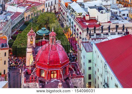 Red Dome Templo San Diego San Diego Church Jardin Town Square Juarez Theater Guanajuato Mexico From Le Pipila Overlook