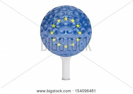 golf ball on a tee with flag of EU 3D rendering isolated on white background