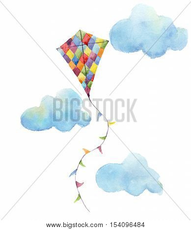 Watercolor checkerboard kite air set. Hand drawn vintage kite with flags garlands, clouds and retro design. Illustrations isolated on white background.